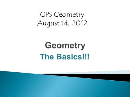 The Basics!!! GPS Geometry August 14, 2012. Point  The basic unit of geometry  Has no dimension.  Used to represent a precise location on a plane 