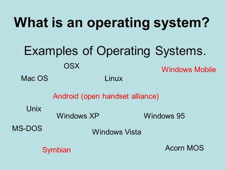 Examples of Operating Systems. What is an operating system? Windows 95Windows XP Windows Vista Unix MS-DOS Acorn MOS Mac OS OSX Linux Android (open handset.