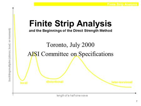 Finite Strip Analysis 1 local distortional later-torsional length of a half sine wave buckling multiplier (stress, load, or moment) Finite Strip Analysis.