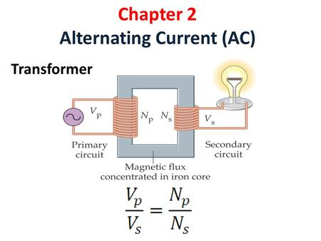 Chapter 2 Alternating Current (AC) Transformer. Example 2.1 A step-up transformer has 25 turns on the primary coil and 500 turns on the secondary coil.