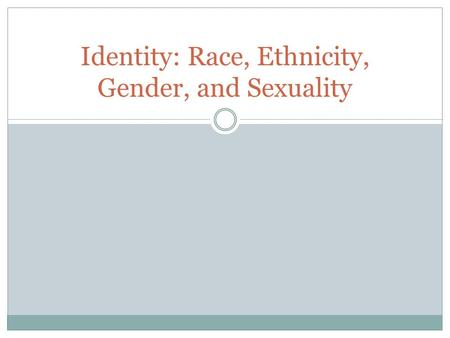 Identity: Race, Ethnicity, Gender, and Sexuality.