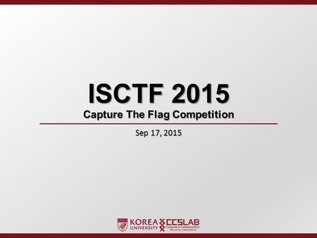 ISCTF 2015 Capture The Flag Competition