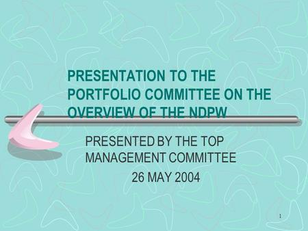 1 PRESENTATION TO THE PORTFOLIO COMMITTEE ON THE OVERVIEW OF THE NDPW PRESENTED BY THE TOP MANAGEMENT COMMITTEE 26 MAY 2004.
