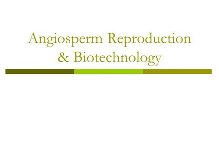 Angiosperm Reproduction & Biotechnology