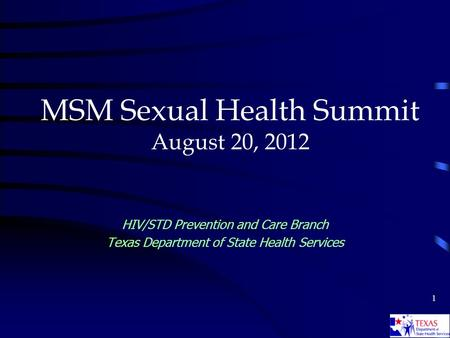 1 MSM Sexual Health Summit August 20, 2012 HIV/STD Prevention and Care Branch Texas Department of State Health Services.