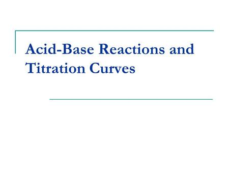 Acid-Base Reactions and Titration Curves. Neutralization Reactions Neutralization reactions occur when a base is added to an acid to neutralize the acid's.