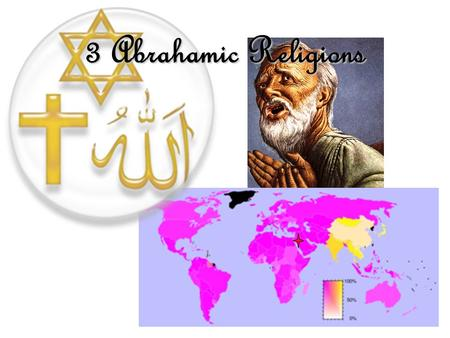 3 Abrahamic Religions. Religious Timeline ADAMADAM Noah (Son) Shem Semite: Descendent of Shem Abraham Muslims, Christians, & Jews all believe the same.
