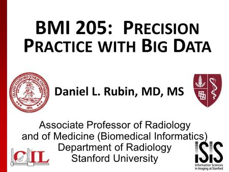 BMI 205: P RECISION P RACTICE WITH B IG D ATA Daniel L. Rubin, MD, MS Associate Professor of Radiology and of Medicine (Biomedical Informatics) Department.