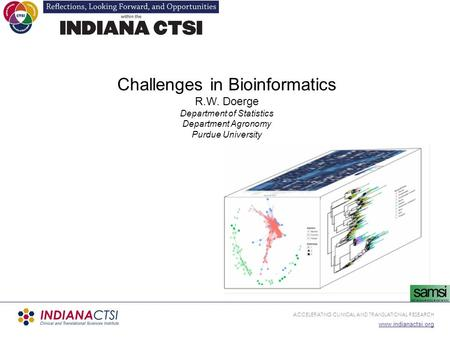 ACCELERATING CLINICAL AND TRANSLATIONAL RESEARCH www.indianactsi.org Challenges in Bioinformatics R.W. Doerge Department of Statistics Department Agronomy.
