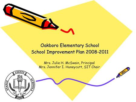 Oakboro Elementary School School Improvement Plan 2008-2011 Mrs. Julie H. McSwain, Principal Mrs. Jennifer I. Huneycutt, SIT Chair.