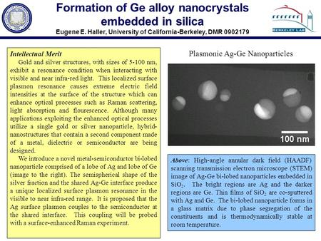 Formation of Ge alloy nanocrystals embedded in silica Eugene E. Haller, University of California-Berkeley, DMR 0902179 Above: High-angle annular dark field.