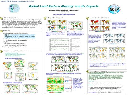 The lower boundary condition of the atmosphere, such as SST, soil moisture and snow cover often have a longer memory than weather itself. Land surface.