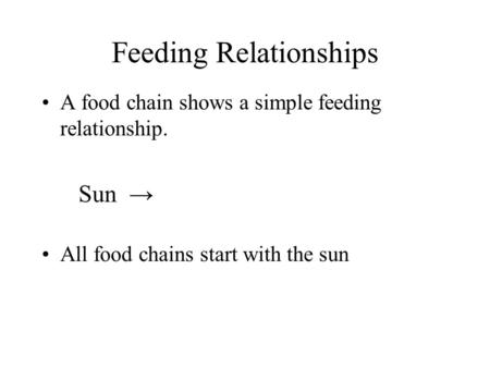 Feeding Relationships A food chain shows a simple feeding relationship. Sun → All food chains start with the sun.