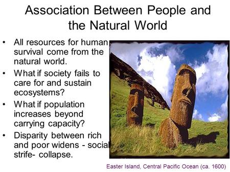 Association Between People and the Natural World All resources for human survival come from the natural world. What if society fails to care for and sustain.