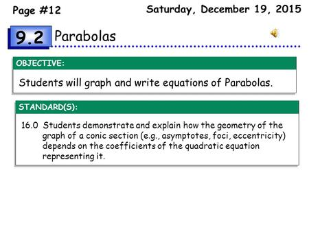 OBJECTIVE: Parabolas Students will graph and write equations of Parabolas. 16.0 Students demonstrate and explain how the geometry of the graph of a conic.