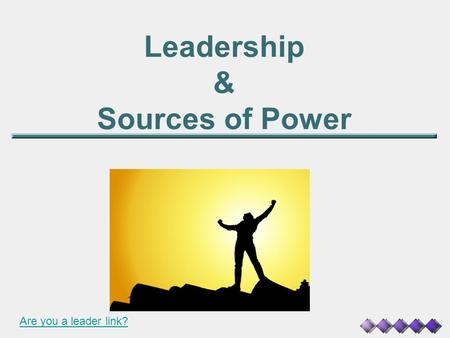 Leadership & Sources of Power Are you a leader link?