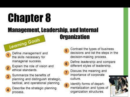 Chapter 8 Management, Leadership, and Internal Organization Learning Goals Define management and the skills necessary for managerial success. Explain the.