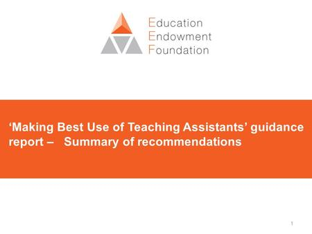 1 'Making Best Use of Teaching Assistants' guidance report – Summary of recommendations.