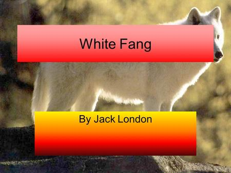 White Fang By Jack London. Chapter 1The trail of meat There was these guys that were racing with dogs when a pack of wolves started to eat there deer.