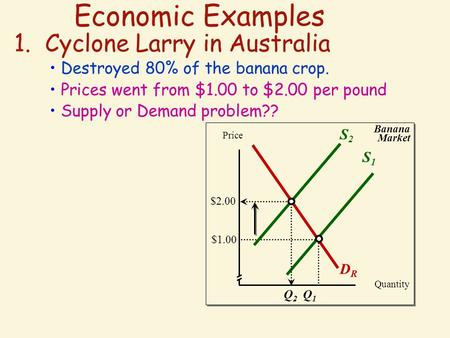 Economic Examples 1. Cyclone Larry in Australia Destroyed 80% of the banana crop. Prices went from $1.00 to $2.00 per pound Supply or Demand problem??