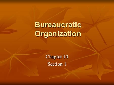Bureaucratic Organization Chapter 10 Section 1. The Cabinet Departments The federal bureaucracy is made up of hundreds of agencies with staff members.