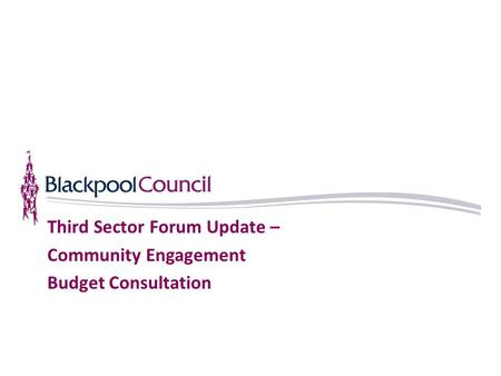 Third Sector Forum Update – Community Engagement Budget Consultation.