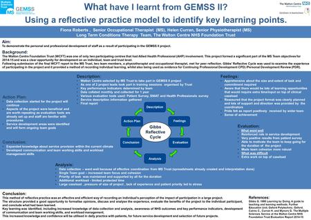 What have I learnt from GEMSS II? Using a reflective practice model to identify key learning points. Aim: To demonstrate the personal and professional.