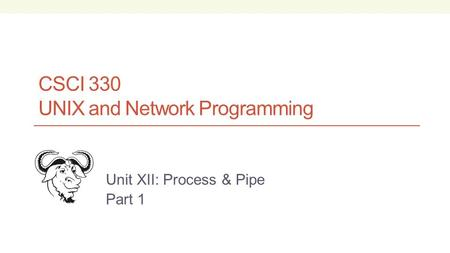 CSCI 330 UNIX and Network Programming Unit XII: Process & Pipe Part 1.