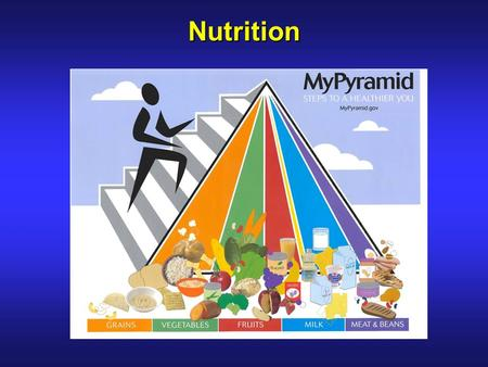 Nutrition. 2 Classes of Nutrients  Macronutrients –Carbohydrates = 4 cal/g –Proteins = 4 cal/g –Fats = 9 cal/g  Micronutrients –Vitamins = 0 cal/g –Minerals.