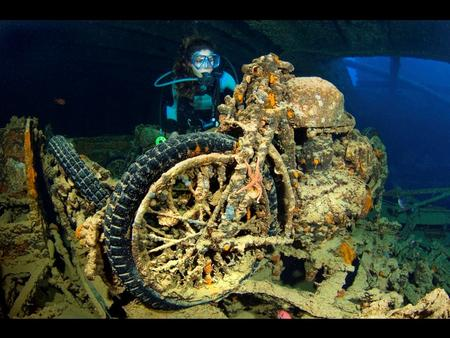 Photo captions and credit All photos © Alexander Mustard / Solent News & Photo Agency Photo 1 A diver examines a British motorbike inside the wreck.
