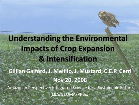 Understanding the Environmental Impacts of Crop Expansion & Intensification Gillian Galford, J. Melillo, J. Mustard, C.E.P. Cerri Nov 20, 2008 Amazon In.