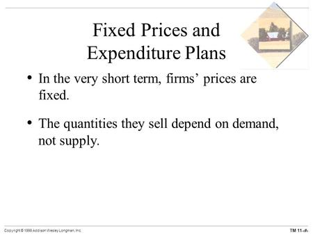 TM 11-1 Copyright © 1998 Addison Wesley Longman, Inc. Fixed Prices and Expenditure Plans In the very short term, firms' prices are fixed. The quantities.