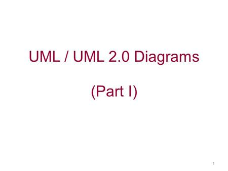 UML / UML 2.0 Diagrams (Part I) 1. Overview of the 13 diagrams of UML Structure diagrams 1.Class diagram 2.Composite structure diagram (*) 3.Component.