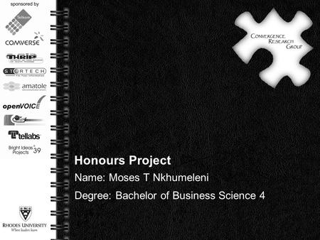Page  1 Honours Project Name: Moses T Nkhumeleni Degree: Bachelor of Business Science 4.