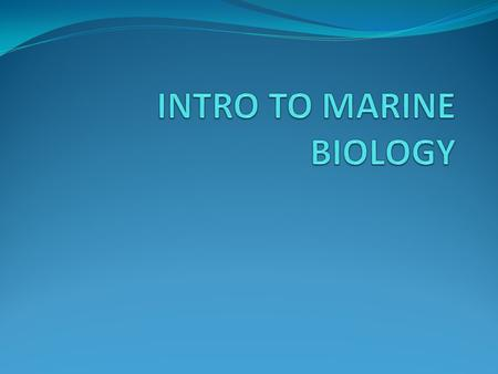 What is marine? Marine biology is the scientific study of the organisms that live in the sea Different disciplines involved overlap Geological oceanography-
