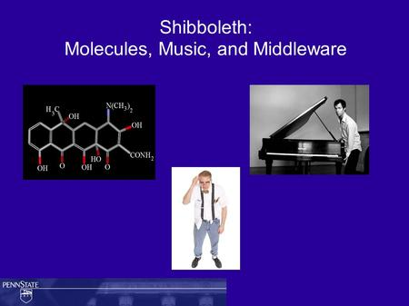 Shibboleth: Molecules, Music, and Middleware. Outline ● Terms ● Problem statement ● Solution space – Shibboleth and Federations ● Description of Shibboleth.