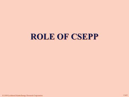 © 1999 Lockheed Martin Energy Research Corporation CA95 ROLE OF CSEPP ROLE OF CSEPP.