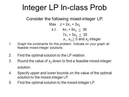 Integer LP In-class Prob