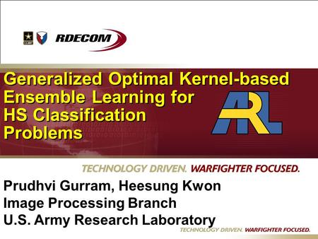Dd Generalized Optimal Kernel-based Ensemble Learning for HS Classification Problems Generalized Optimal Kernel-based Ensemble Learning for HS Classification.