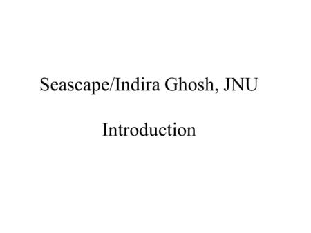 Seascape/Indira Ghosh, JNU Introduction. Seascape Intro Indo-US company with a mission to foster international collaborative research, education and software.