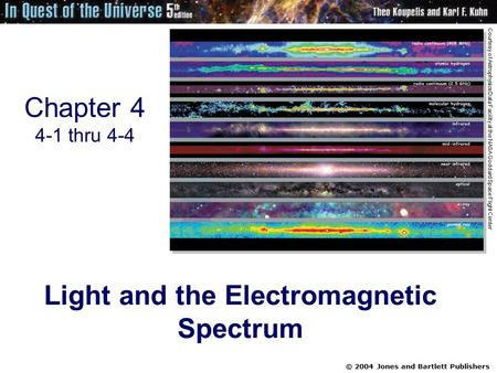 © 2004 Jones and Bartlett Publishers Chapter 4 4-1 thru 4-4 Light and the Electromagnetic Spectrum Courtesy of Astrophysics Data Facility at the NASA Goddard.
