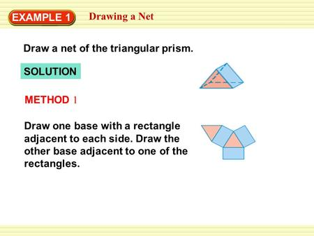 EXAMPLE 1 Drawing a Net Draw a net of the triangular prism. SOLUTION