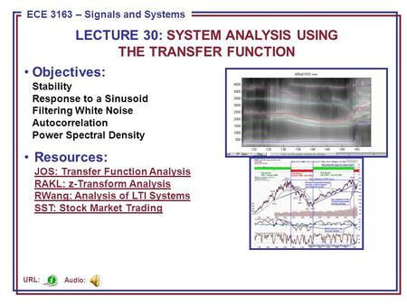 ECE 8443 – Pattern Recognition ECE 3163 – Signals and Systems Objectives: Stability Response to a Sinusoid Filtering White Noise Autocorrelation Power.