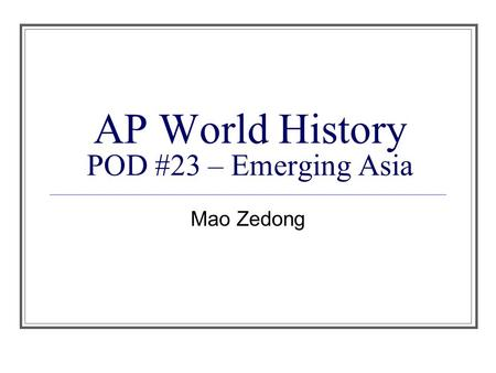 ib history ia why did mao A profile of the relationship between the united states and china from 1884  under the leadership of mao  learn why the usa is one of the most.