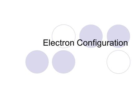 Electron Configuration. Electron Clouds Electron cloud Principal energy levels Subshells Orbitals The electron cloud is made of energy levels Energy levels.