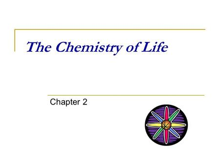 The Chemistry of Life Chapter 2. Ch. 2 Outline of topics The atom  composition Types of Atomic interactions pH & buffers  What is pH?  What is a buffer?