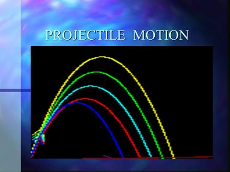 PROJECTILE MOTION Terms of Reference n Angle of projection n Velocity of projection n Trajectory n Greatest height n Range n Time of flight.
