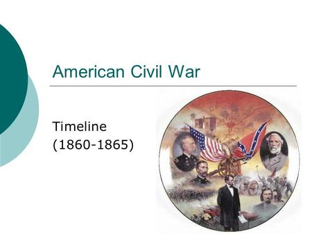 American Civil War Timeline (1860-1865). 1860  November, 6- Abraham Lincoln declared government cannot endure permanently half slave, half free. Only.