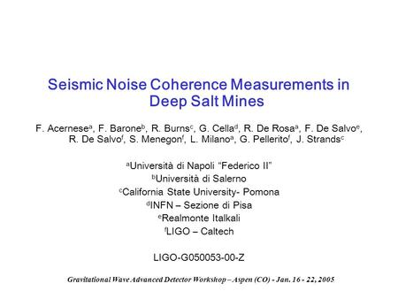 Seismic Noise Coherence Measurements in Deep Salt Mines
