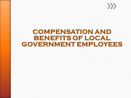COMPENSATION AND BENEFITS OF LOCAL GOVERNMENT EMPLOYEES.